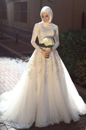 7ae761bbff68 Abito da sposa alta coperta in tulle eccellente con piega romantico pudica