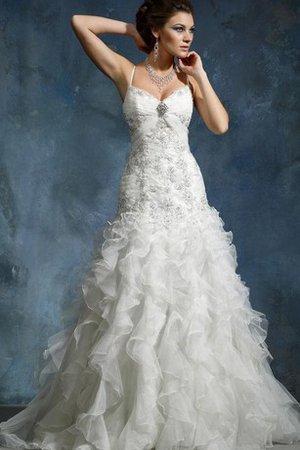 eb5ef22e9b2e Abito da Sposa con Perline Lunghi con Cascata Volant Elegante A Terra