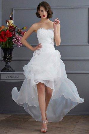 26c4ab229bac Abito da Sposa Senza Maniche con Applique Asimmetrici Naturale in Organza