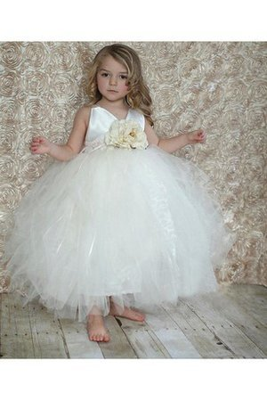 Abito da Cerimonia Bambini V-Scollo con Increspature con Perline Ball Gown in Tulle