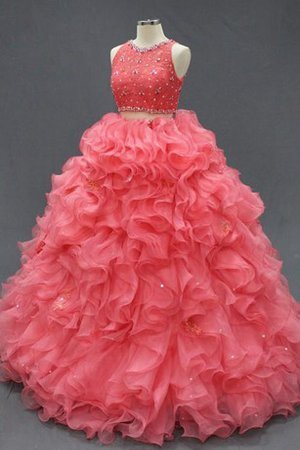 Abito Quinceanera Cerniera in Organza con Increspature A Terra con Perline