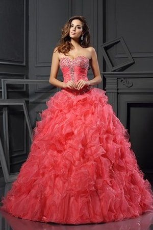 Abito Quinceanera Naturale Ball Gown con Increspature A Terra Senza Maniche